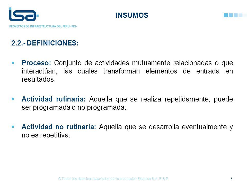 2.2.- DEFINICIONES: Proceso: Conjunto de actividades mutuamente relacionadas o que interactúan, las cuales transforman elementos de entrada en resulta