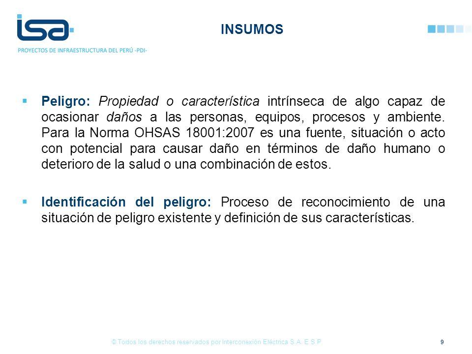 Peligro: Propiedad o característica intrínseca de algo capaz de ocasionar daños a las personas, equipos, procesos y ambiente. Para la Norma OHSAS 1800