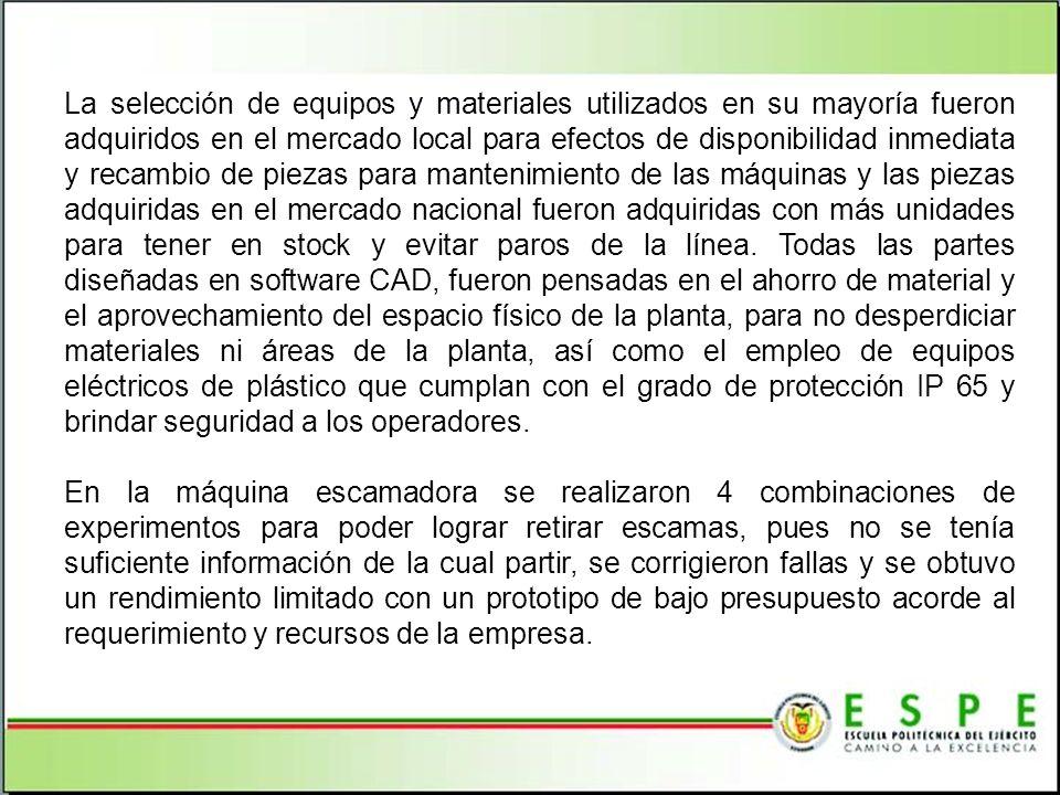 La selección de equipos y materiales utilizados en su mayoría fueron adquiridos en el mercado local para efectos de disponibilidad inmediata y recambi