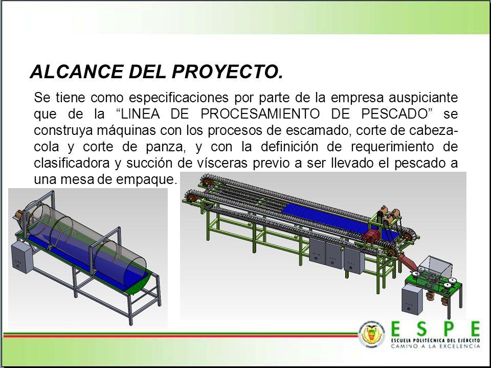 Se tiene como especificaciones por parte de la empresa auspiciante que de la LINEA DE PROCESAMIENTO DE PESCADO se construya máquinas con los procesos