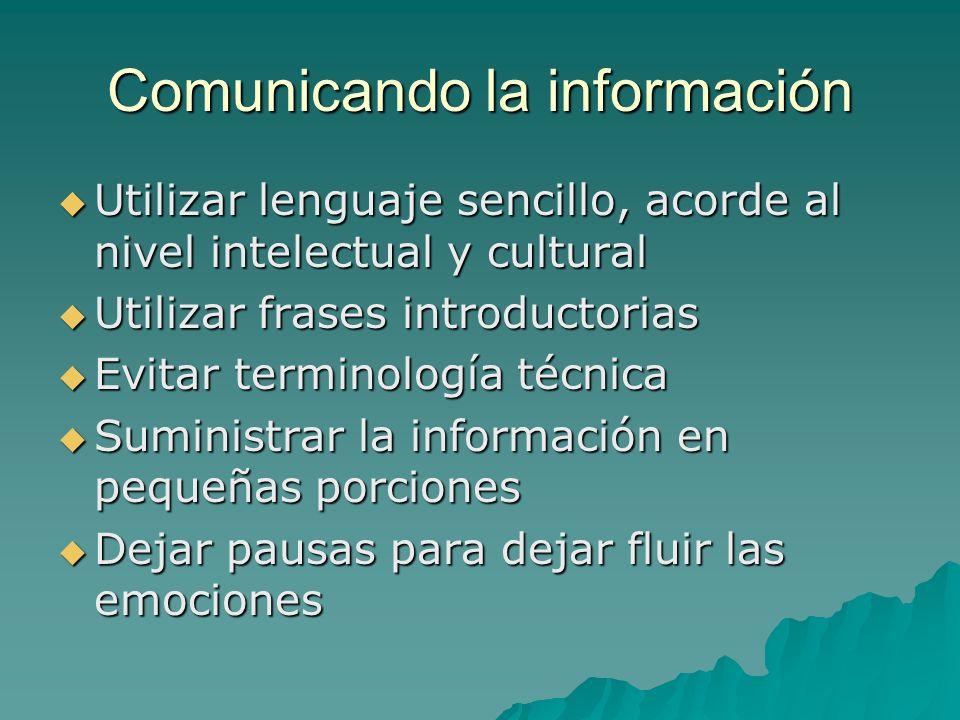 Comunicando la información Utilizar lenguaje sencillo, acorde al nivel intelectual y cultural Utilizar lenguaje sencillo, acorde al nivel intelectual