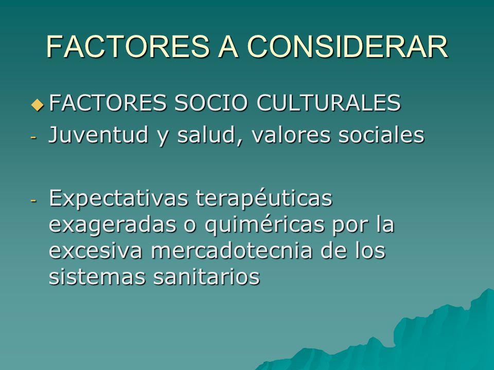 FACTORES A CONSIDERAR FACTORES SOCIO CULTURALES FACTORES SOCIO CULTURALES - Juventud y salud, valores sociales - Expectativas terapéuticas exageradas
