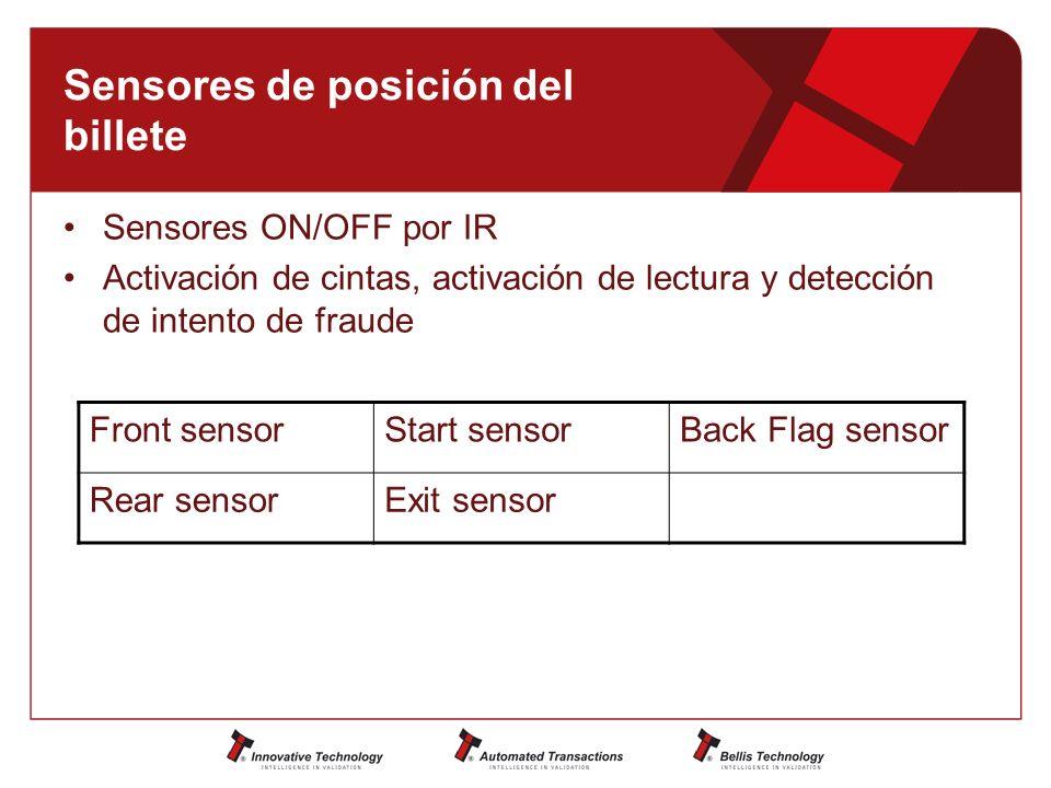 Sensores de posición del billete Sensores ON/OFF por IR Activación de cintas, activación de lectura y detección de intento de fraude Front sensorStart sensorBack Flag sensor Rear sensorExit sensor