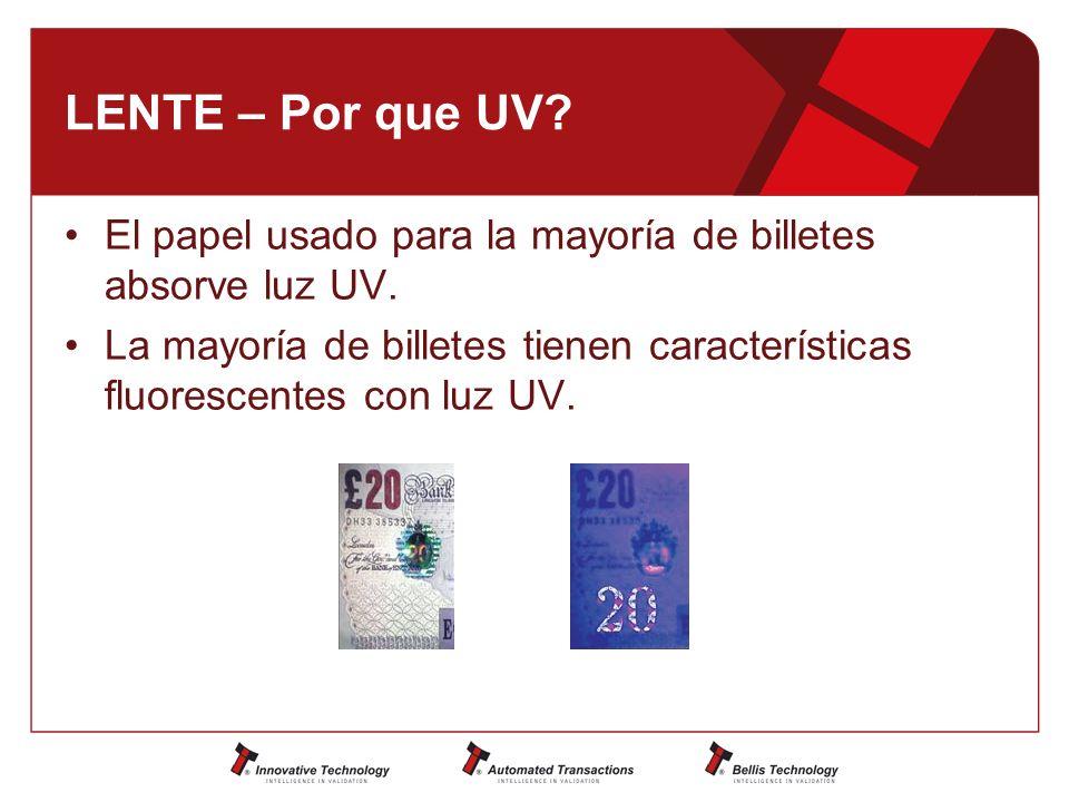 LENTE – Por que UV.El papel usado para la mayoría de billetes absorve luz UV.