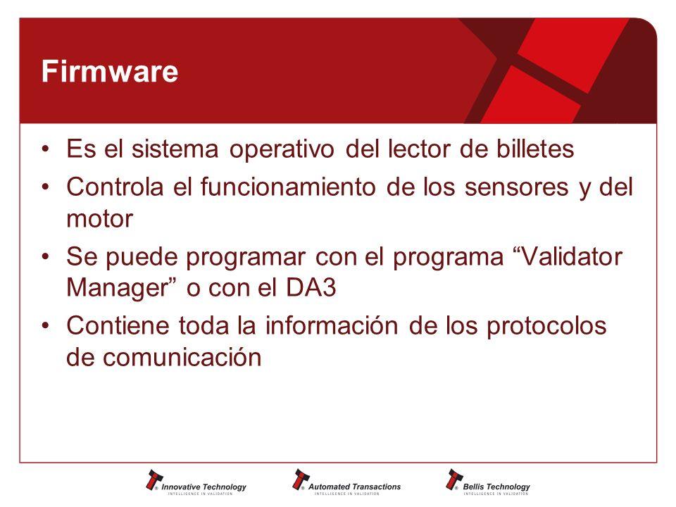 Firmware Es el sistema operativo del lector de billetes Controla el funcionamiento de los sensores y del motor Se puede programar con el programa Validator Manager o con el DA3 Contiene toda la información de los protocolos de comunicación