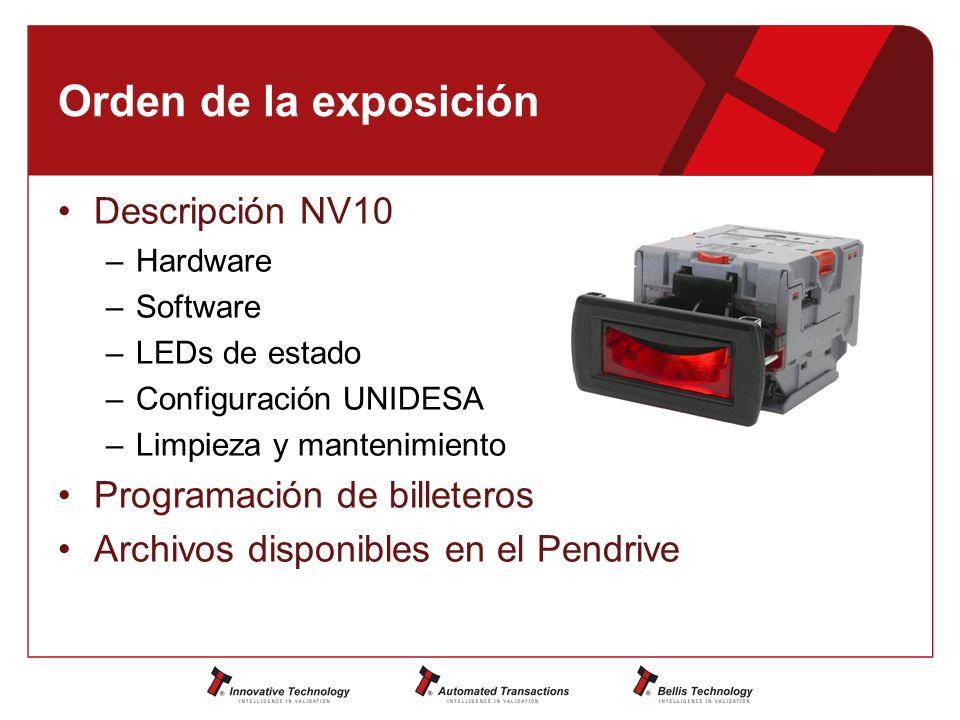 Orden de la exposición Descripción NV10 –Hardware –Software –LEDs de estado –Configuración UNIDESA –Limpieza y mantenimiento Programación de billeteros Archivos disponibles en el Pendrive