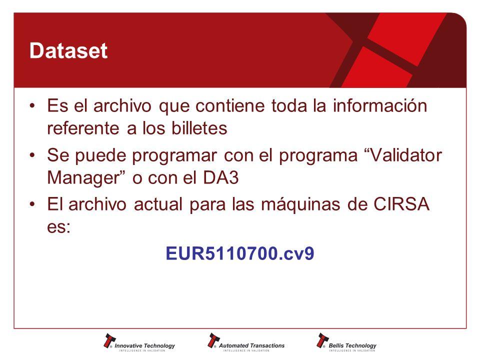 Dataset Es el archivo que contiene toda la información referente a los billetes Se puede programar con el programa Validator Manager o con el DA3 El archivo actual para las máquinas de CIRSA es: EUR5110700.cv9