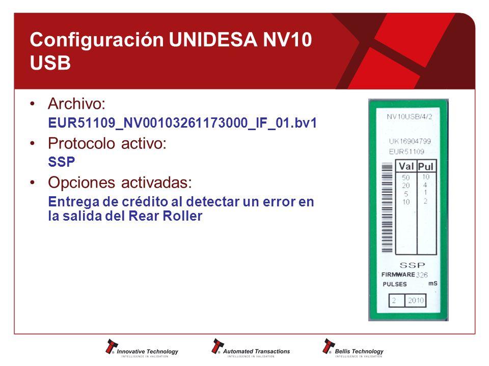 Configuración UNIDESA NV10 USB Archivo: EUR51109_NV00103261173000_IF_01.bv1 Protocolo activo: SSP Opciones activadas: Entrega de crédito al detectar un error en la salida del Rear Roller