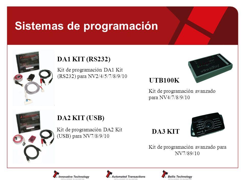 Sistemas de programación Kit de programación DA1 Kit (RS232) para NV2/4/5/7/8/9/10 Kit de programación DA2 Kit (USB) para NV7/8/9/10 Kit de programación avanzado para NV4/7/8/9/10 DA1 KIT (RS232) DA2 KIT (USB) UTB100K Kit de programación avanzado para NV7/89/10 DA3 KIT