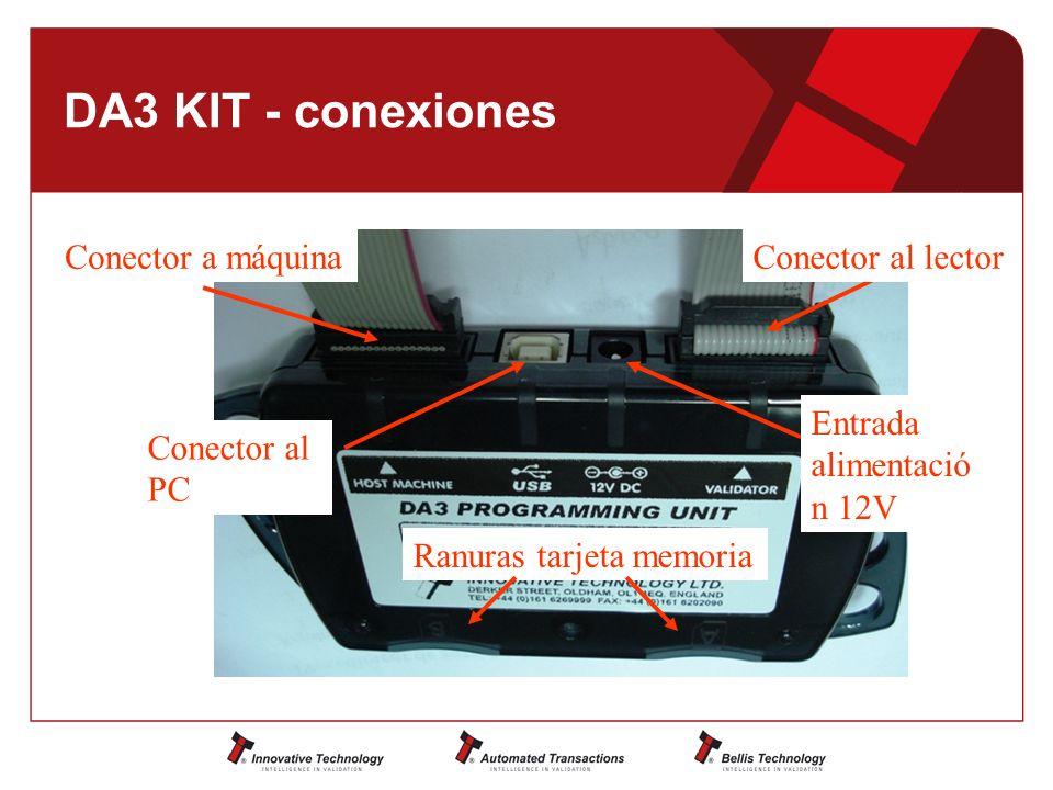 DA3 KIT - conexiones Conector al PC Conector a máquinaConector al lector Entrada alimentació n 12V Ranuras tarjeta memoria