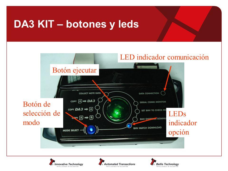 DA3 KIT – botones y leds Botón de selección de modo Botón ejecutar LED indicador comunicación LEDs indicador opción