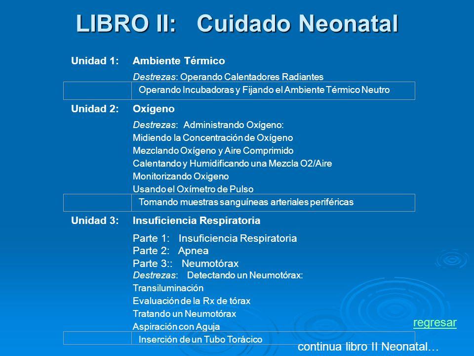 LIBRO II: Cuidado Neonatal Unidad 1:Ambiente Térmico Destrezas:Operando Calentadores Radiantes Unidad 2:Oxígeno Destrezas: Administrando Oxígeno: Midiendo la Concentración de Oxígeno Mezclando Oxígeno y Aire Comprimido Calentando y Humidificando una Mezcla O2/Aire Monitorizando Oxigeno Usando el Oxímetro de Pulso Unidad 3:Insuficiencia Respiratoria Parte 1: Insuficiencia Respiratoria Parte 2: Apnea Parte 3:: Neumotórax Destrezas: Detectando un Neumotórax: Transiluminación Evaluación de la Rx de tórax Tratando un Neumotórax Aspiración con Aguja Operando Incubadoras y Fijando el Ambiente Térmico Neutro Tomando muestras sanguíneas arteriales periféricas Inserción de un Tubo Torácico continua libro II Neonatal… regresar