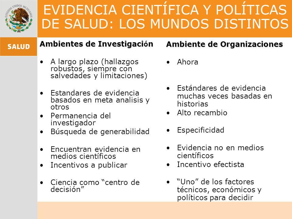 EVIDENCIA CIENTÍFICA Y POLÍTICAS DE SALUD: LOS MUNDOS DISTINTOS Ambientes de Investigaci ó n A largo plazo (hallazgos robustos, siempre con salvedades