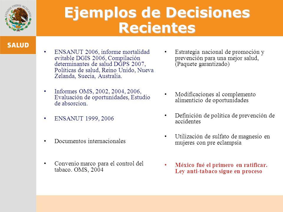 Ejemplos de Decisiones Recientes ENSANUT 2006, informe mortalidad evitable DGIS 2006, Compilación determinantes de salud DGPS 2007, Políticas de salud, Reino Unido, Nueva Zelanda, Suecia, Australia.
