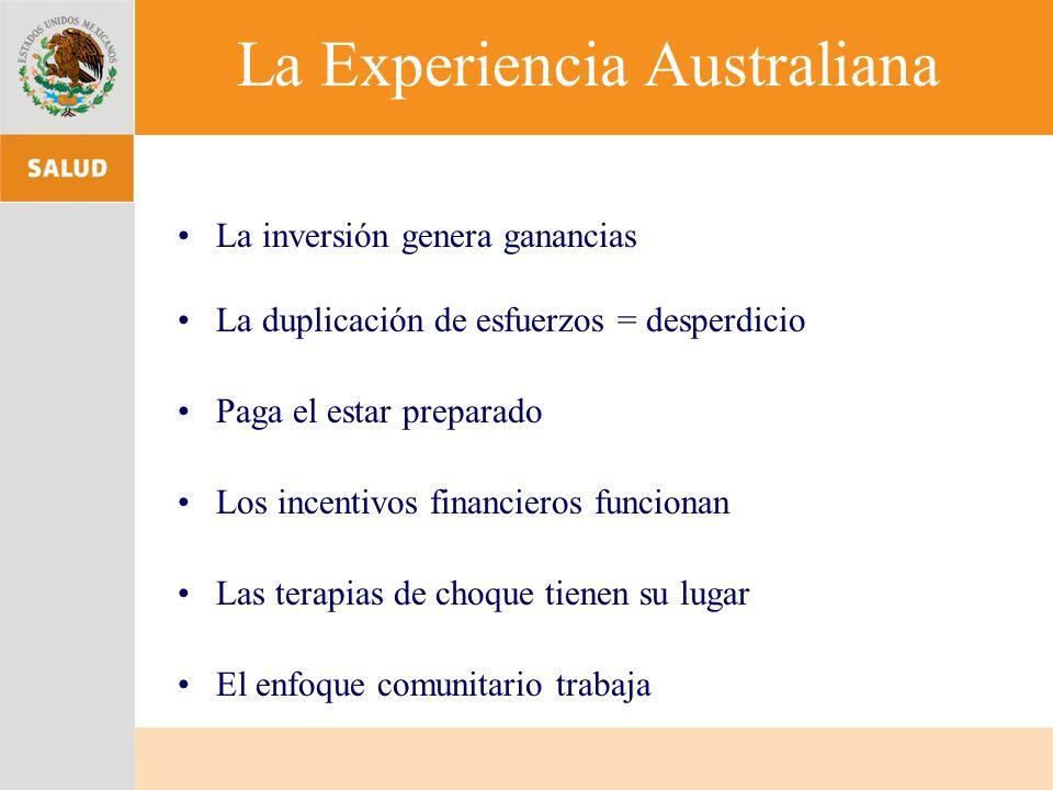 La Experiencia Australiana La inversión genera ganancias La duplicación de esfuerzos = desperdicio Paga el estar preparado Los incentivos financieros