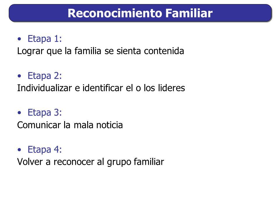 Etapa 1: Lograr que la familia se sienta contenida Etapa 2: Individualizar e identificar el o los lideres Etapa 3: Comunicar la mala noticia Etapa 4: Volver a reconocer al grupo familiar Reconocimiento Familiar