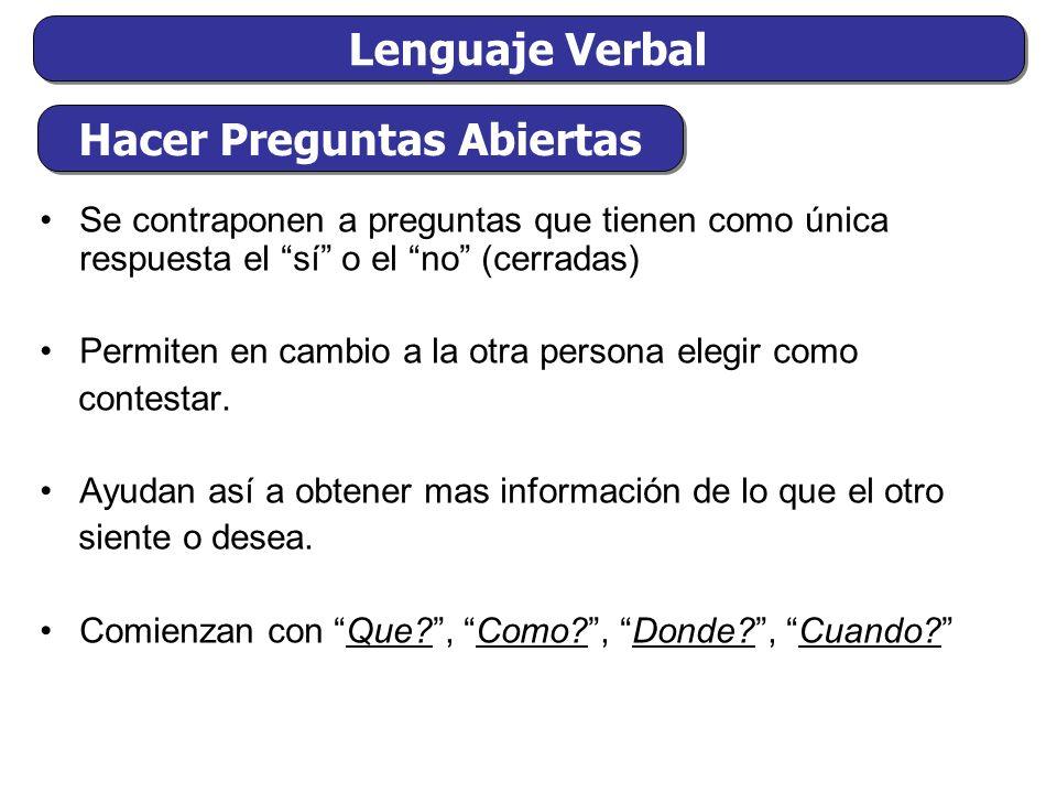 Lenguaje Verbal Se contraponen a preguntas que tienen como única respuesta el sí o el no (cerradas) Permiten en cambio a la otra persona elegir como contestar.
