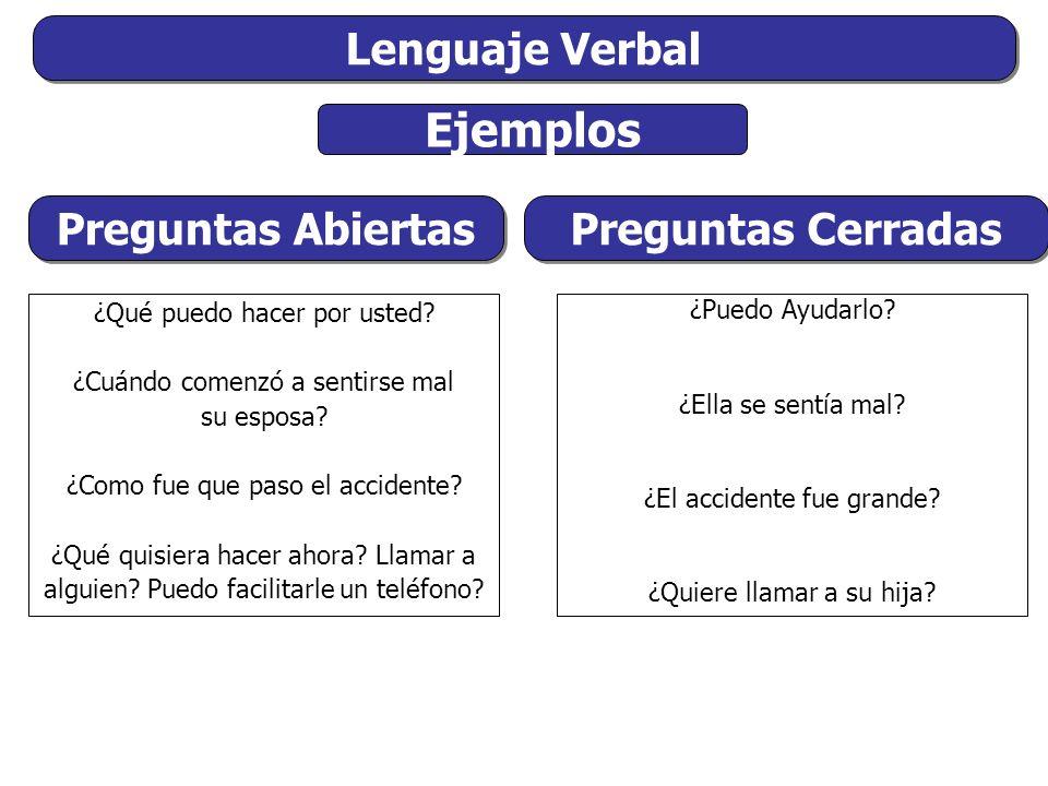 Lenguaje Verbal Ejemplos ¿Qué puedo hacer por usted.