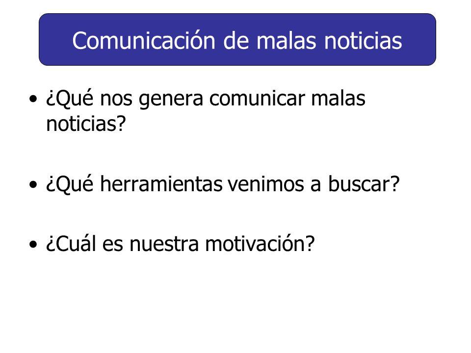 ¿Qué nos genera comunicar malas noticias? ¿Qué herramientas venimos a buscar? ¿Cuál es nuestra motivación? Comunicación de malas noticias