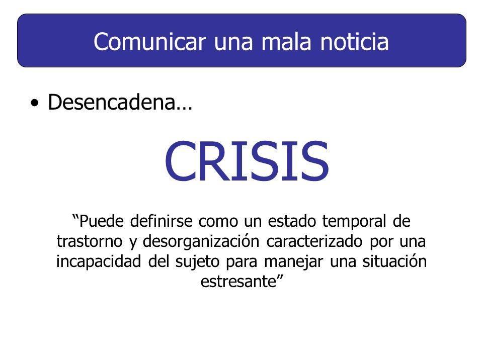 Desencadena… CRISIS Puede definirse como un estado temporal de trastorno y desorganización caracterizado por una incapacidad del sujeto para manejar una situación estresante Comunicar una mala noticia
