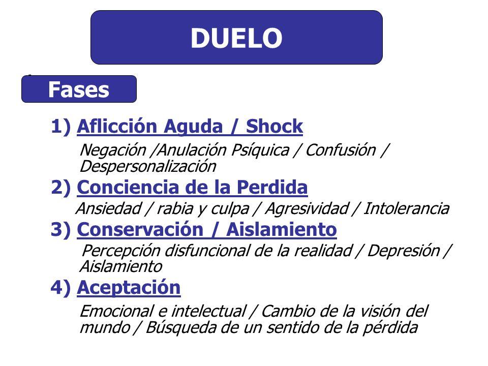 Comienzo del Duelo : 1) Aflicción Aguda / Shock Negación /Anulación Psíquica / Confusión / Despersonalización 2) Conciencia de la Perdida Ansiedad / r