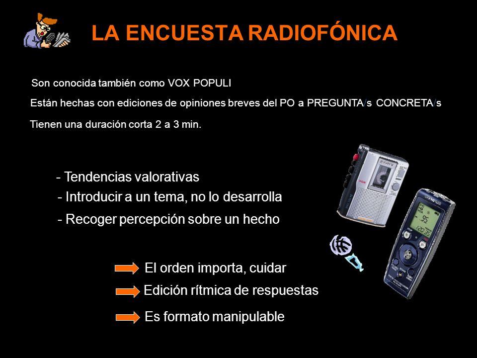 LA ENCUESTA RADIOFÓNICA Son conocida también como VOX POPULI Es formato manipulable - Tendencias valorativas Están hechas con ediciones de opiniones b
