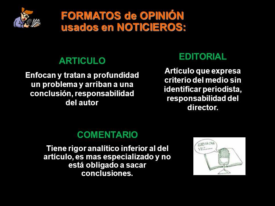 FORMATOS de OPINIÓN usados en NOTICIEROS: EDITORIAL Artículo que expresa criterio del medio sin identificar periodista, responsabilidad del director.