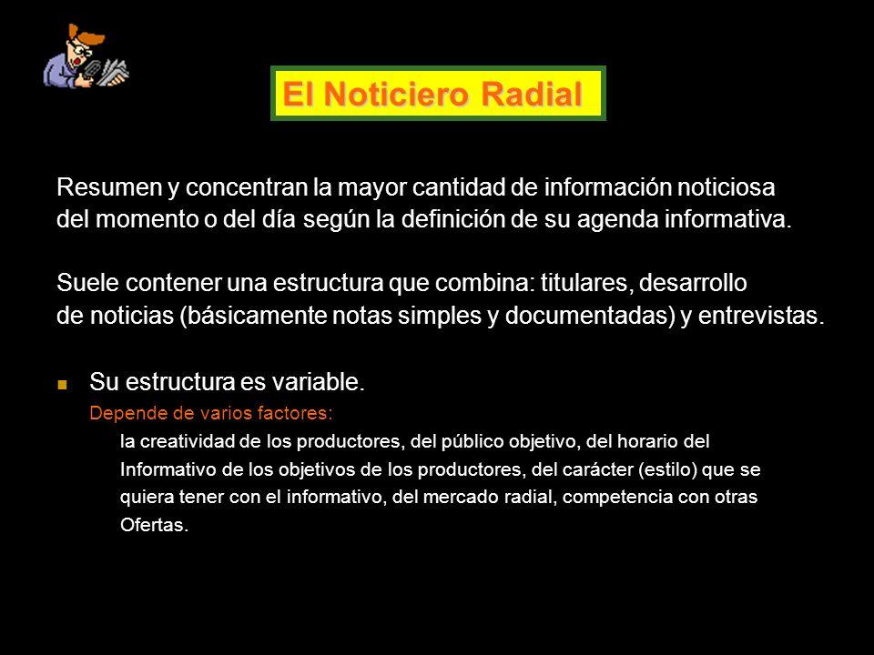 El Noticiero Radial Resumen y concentran la mayor cantidad de información noticiosa del momento o del día según la definición de su agenda informativa.