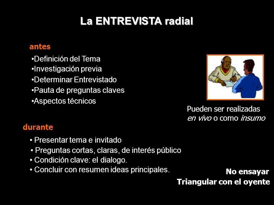 TIPOS DE NOTAS RADIALES Primera parte