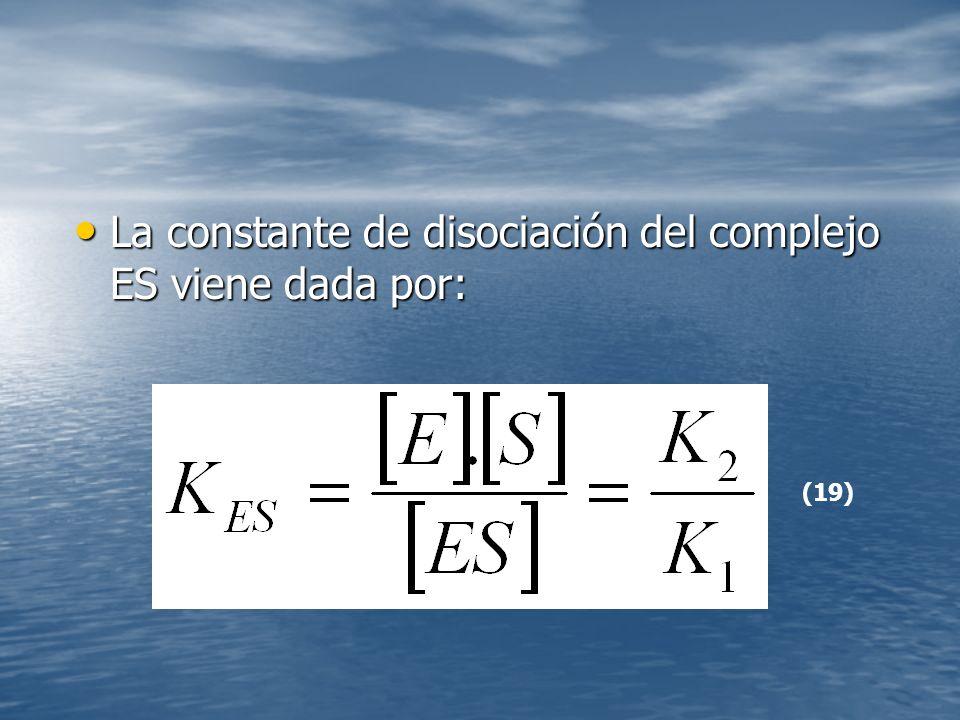 La constante de disociación del complejo ES viene dada por: La constante de disociación del complejo ES viene dada por: (19)