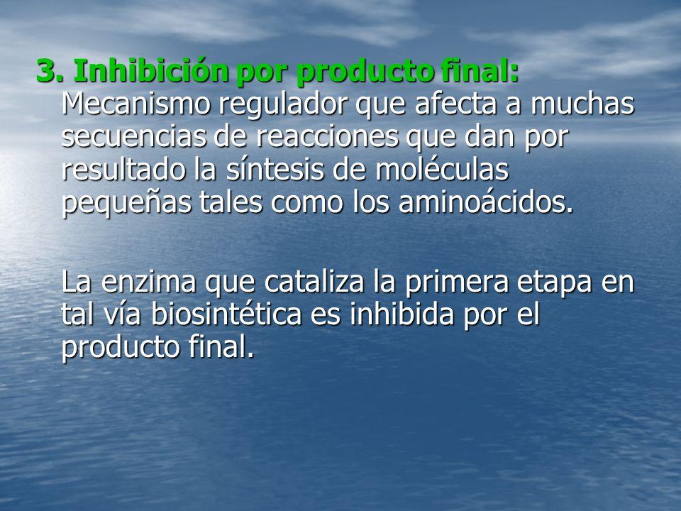 3. Inhibición por producto final: Mecanismo regulador que afecta a muchas secuencias de reacciones que dan por resultado la síntesis de moléculas pequ