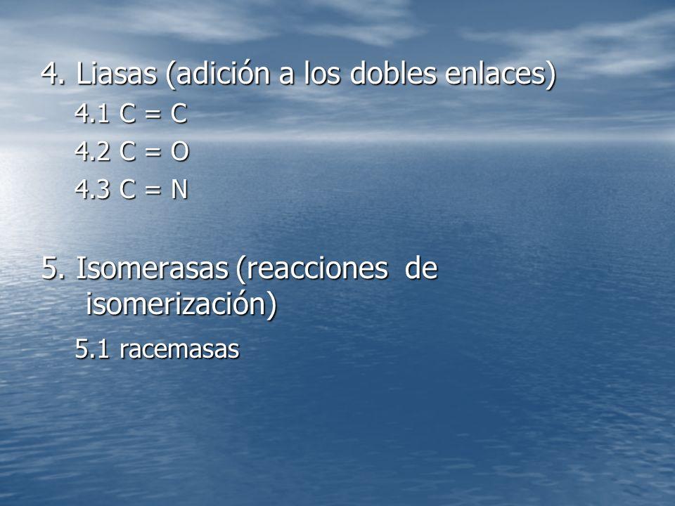 4.Liasas (adición a los dobles enlaces) 4.1 C = C 4.2 C = O 4.3 C = N 5.