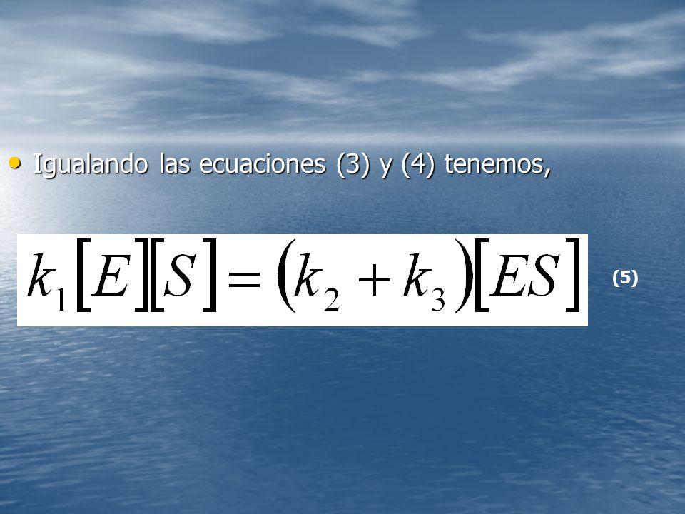 Igualando las ecuaciones (3) y (4) tenemos, Igualando las ecuaciones (3) y (4) tenemos, (5)