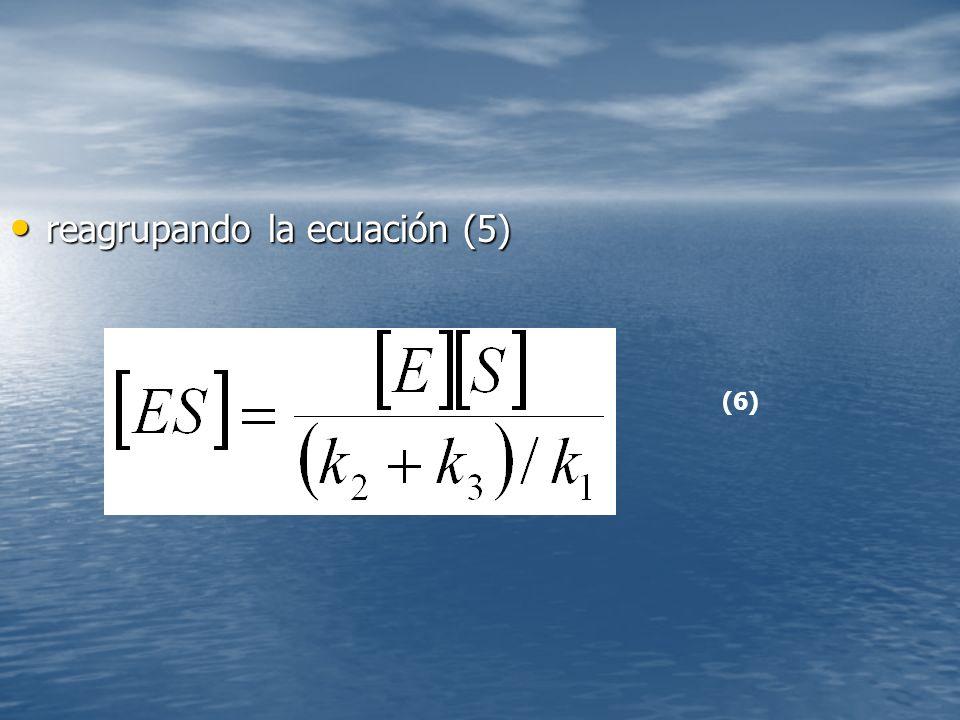 reagrupando la ecuación (5) reagrupando la ecuación (5) (6)