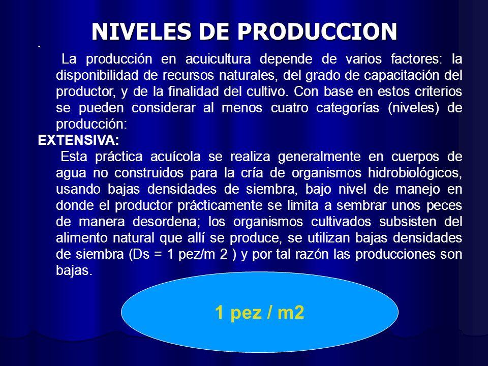 NIVELES DE PRODUCCION. La producción en acuicultura depende de varios factores: la disponibilidad de recursos naturales, del grado de capacitación del