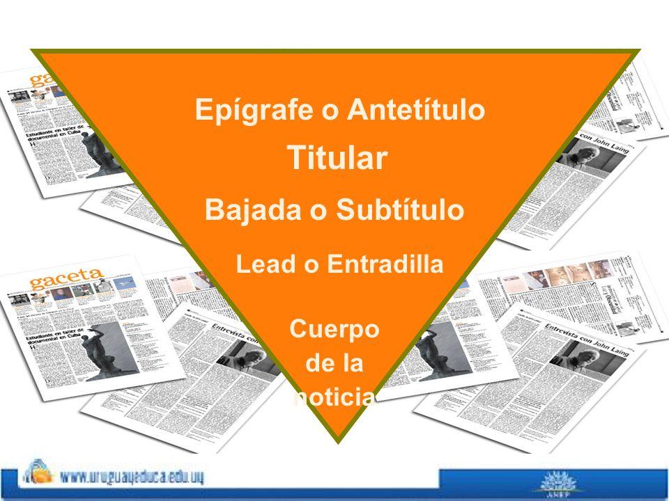 Epígrafe o Antetítulo Titular Bajada o Subtítulo Lead o Entradilla Cuerpo de la noticia