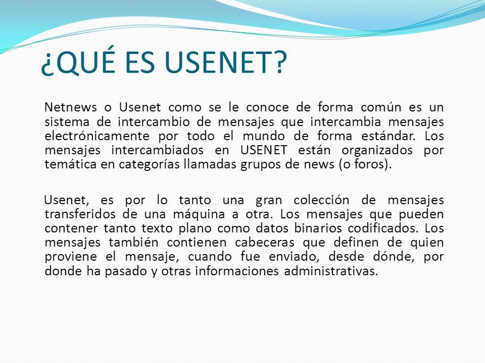 Usenet es un conjunto de protocolos para generar, almacenar y recuperar noticias artículos (parecidos a los mensajes mail de Internet) y para intercambiarlos entre lectores, con una distribución generalizada.