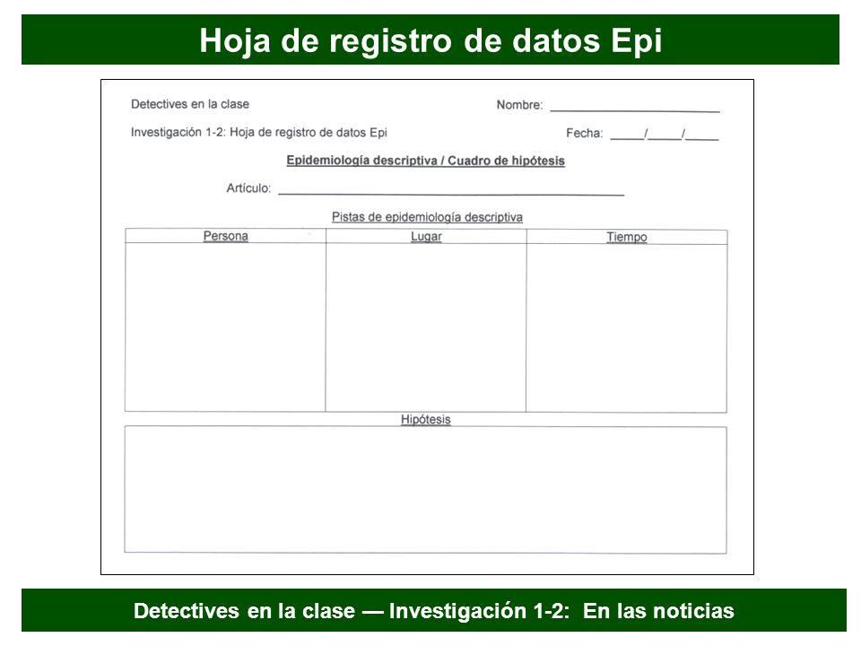 Hoja de registro de datos Epi Detectives en la clase Investigación 1-2: En las noticias