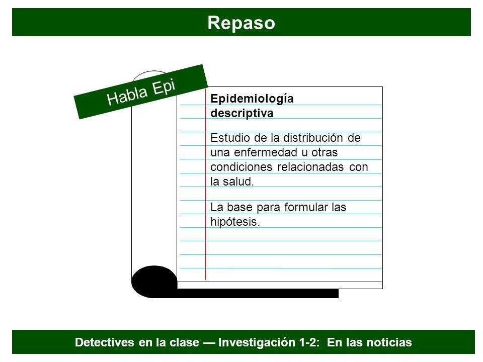 Pistas de epidemiología descriptiva Verano Enfermedad u otra condición relacionada con la salud Detectives en la clase Investigación 1-2: En las noticias