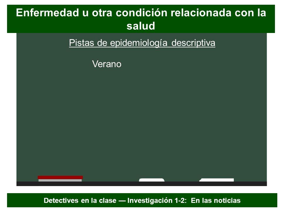 Pistas de epidemiología descriptiva Verano Enfermedad u otra condición relacionada con la salud Detectives en la clase Investigación 1-2: En las notic
