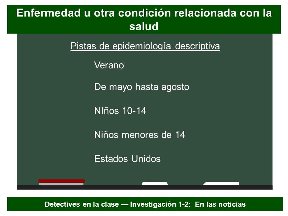 Pistas de epidemiología descriptiva NIños 10-14 Estados Unidos De mayo hasta agosto Niños menores de 14 Verano Detectives en la clase Investigación 1-
