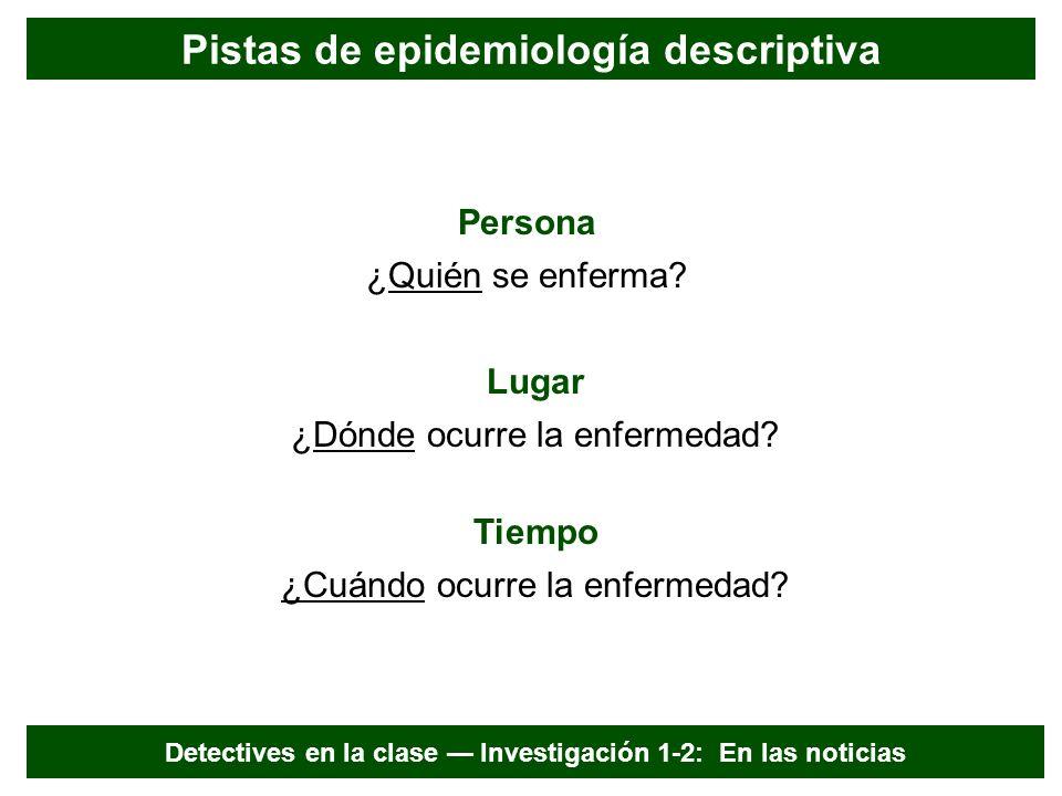 Persona, lugar y tiempo Habla Epi Las tres categorías básicas de pistas que pueden describir la distribución de una enfermedad en una población.