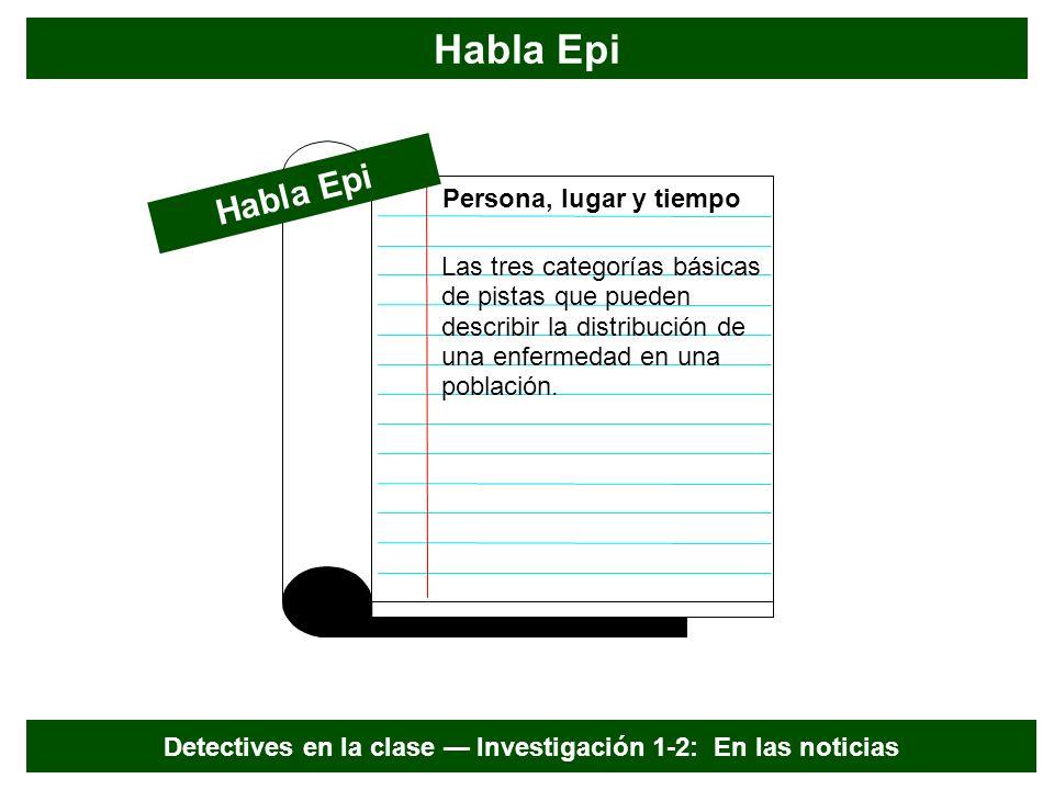 PIstas de epidemiología descriptiva PersonaLugarTiempo Verano PLT Detectives en la clase Investigación 1-2: En las noticias