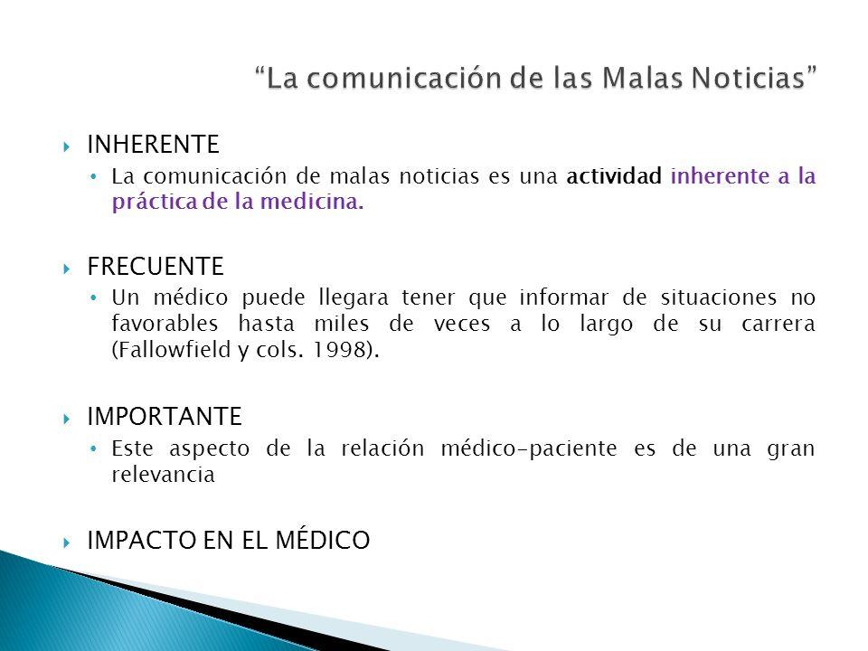 INHERENTE La comunicación de malas noticias es una actividad inherente a la práctica de la medicina. FRECUENTE Un médico puede llegara tener que infor