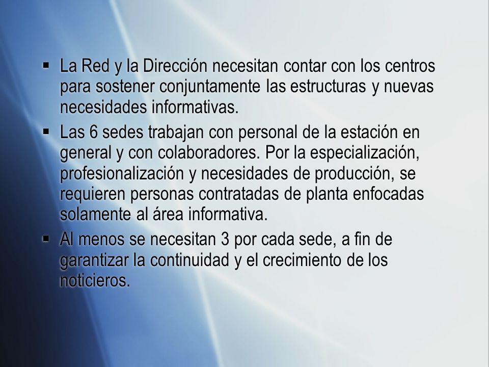 La Red y la Dirección necesitan contar con los centros para sostener conjuntamente las estructuras y nuevas necesidades informativas.