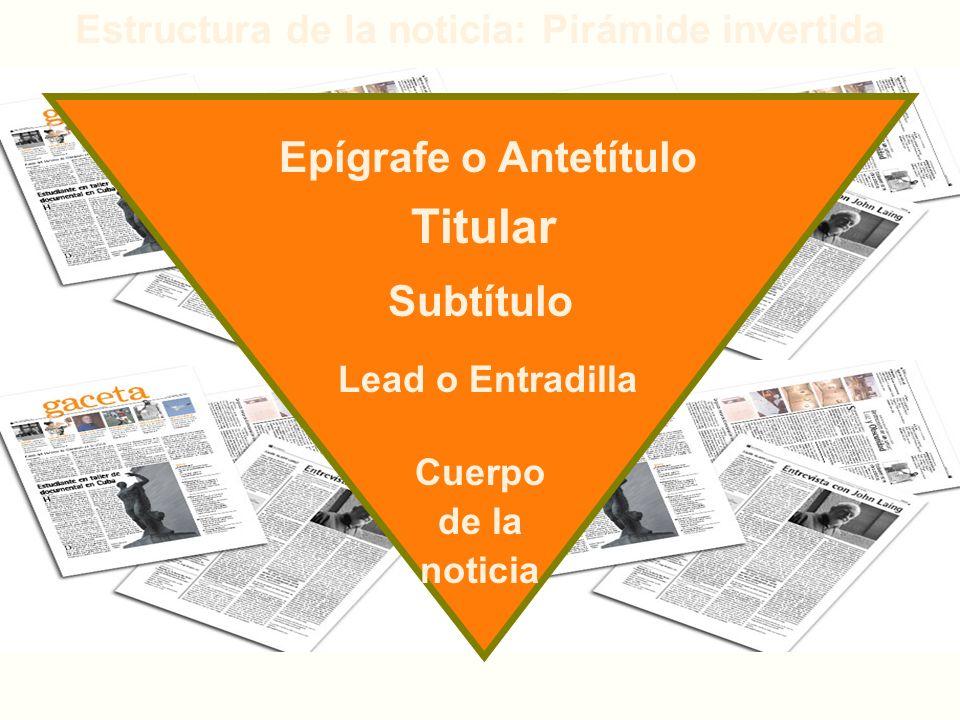 Estructura de la noticia: Pirámide invertida Epígrafe o Antetítulo Titular Subtítulo Lead o Entradilla Cuerpo de la noticia