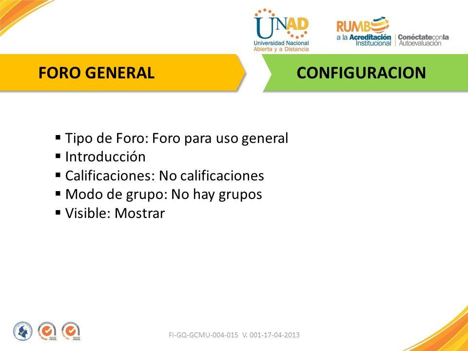 FI-GQ-GCMU-004-015 V. 001-17-04-2013 CONFIGURACION FORO GENERAL Tipo de Foro: Foro para uso general Introducción Calificaciones: No calificaciones Mod