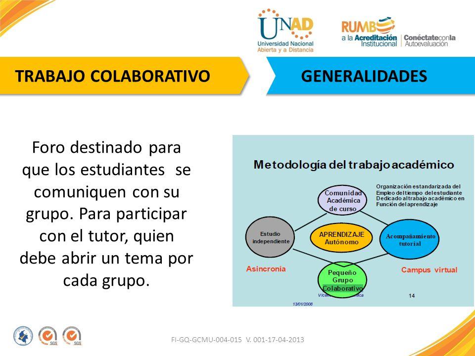 FI-GQ-GCMU-004-015 V. 001-17-04-2013 GENERALIDADES TRABAJO COLABORATIVO Foro destinado para que los estudiantes se comuniquen con su grupo. Para parti