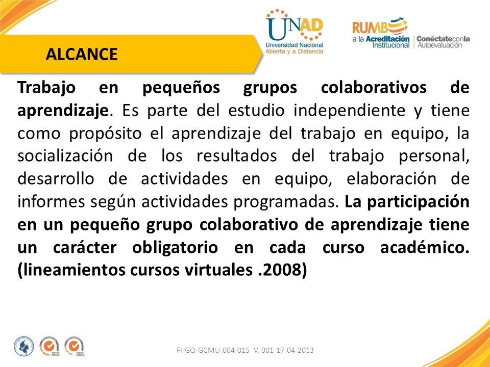 FI-GQ-GCMU-004-015 V. 001-17-04-2013 Trabajo en pequeños grupos colaborativos de aprendizaje. Es parte del estudio independiente y tiene como propósit