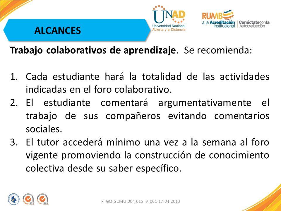 FI-GQ-GCMU-004-015 V. 001-17-04-2013 ALCANCES Trabajo colaborativos de aprendizaje. Se recomienda: 1.Cada estudiante hará la totalidad de las activida